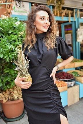 Modakapimda Siyah Balon Kol Yırtmaçlı Elbise