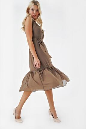 Modakapimda Haki Eteği Büzgülü Kruvaze Yaka Şifon Elbise