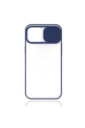 Fibaks Lacivert  Iphone 12 Slayt Sürgülü Kamera Korumalı Renkli Silikon Kılıf