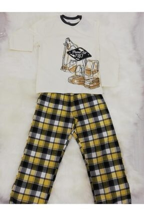 Wonder Kıds Erkek Çocuk  Buldozerli  Mevsimlik Pijama Takımı