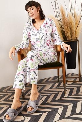 Olalook Kadın Ekru Yazılı Desenli Pijama Takımı PJM-00000002