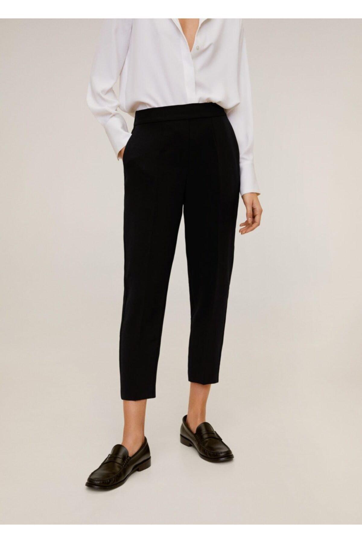 MANGO Woman Kadın Siyah Düz Kesim Kısa Paçalı Pantolon 67084006 1