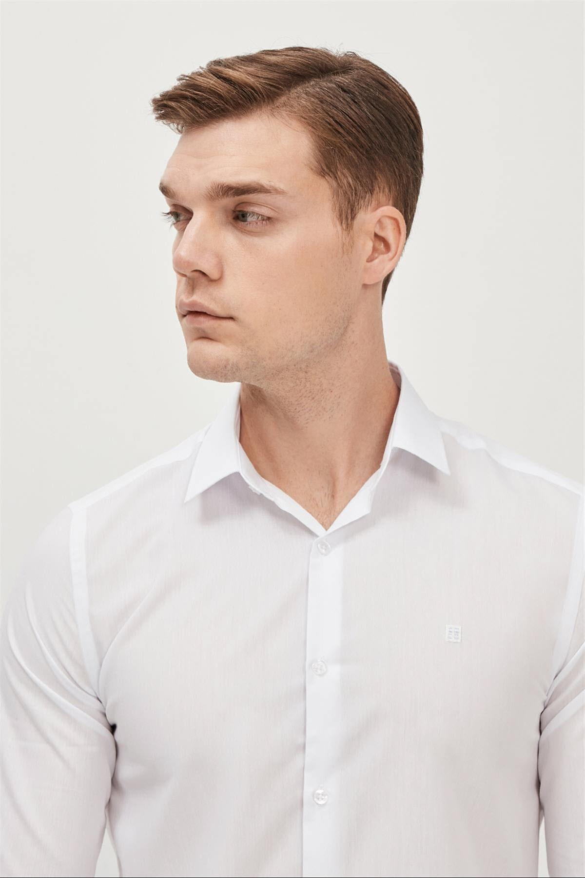 Avva Erkek Beyaz Düz Klasik Yaka Slim Fit Gömlek E002002 2