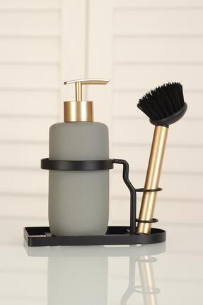 ACAR Marli Seramik Metal Stand Fırçalı Mat Sıvı Sabunluk Gri