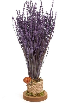 Yapay Çiçek Deposu Mini Vazoda Kokulu Şoklanmıs Lavanta Tanzimi 35 Cm