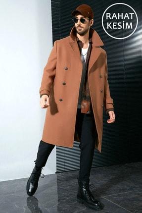 Sateen Men Erkek Taba Askeri Stil Uzun Palto