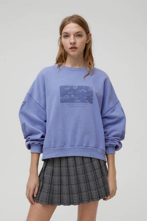Pull & Bear Kolları Desenli Mavi Sweatshirt