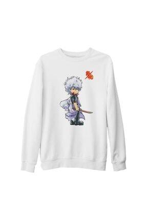 Lord T-Shirt Unisex Beyaz Gintama Gintoki Baskılı Kalın Sweatshirt