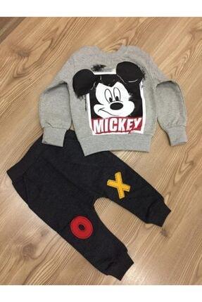 Mickey Mouse Erkek Çocuk Gri Baskılı Eşofman Takımı