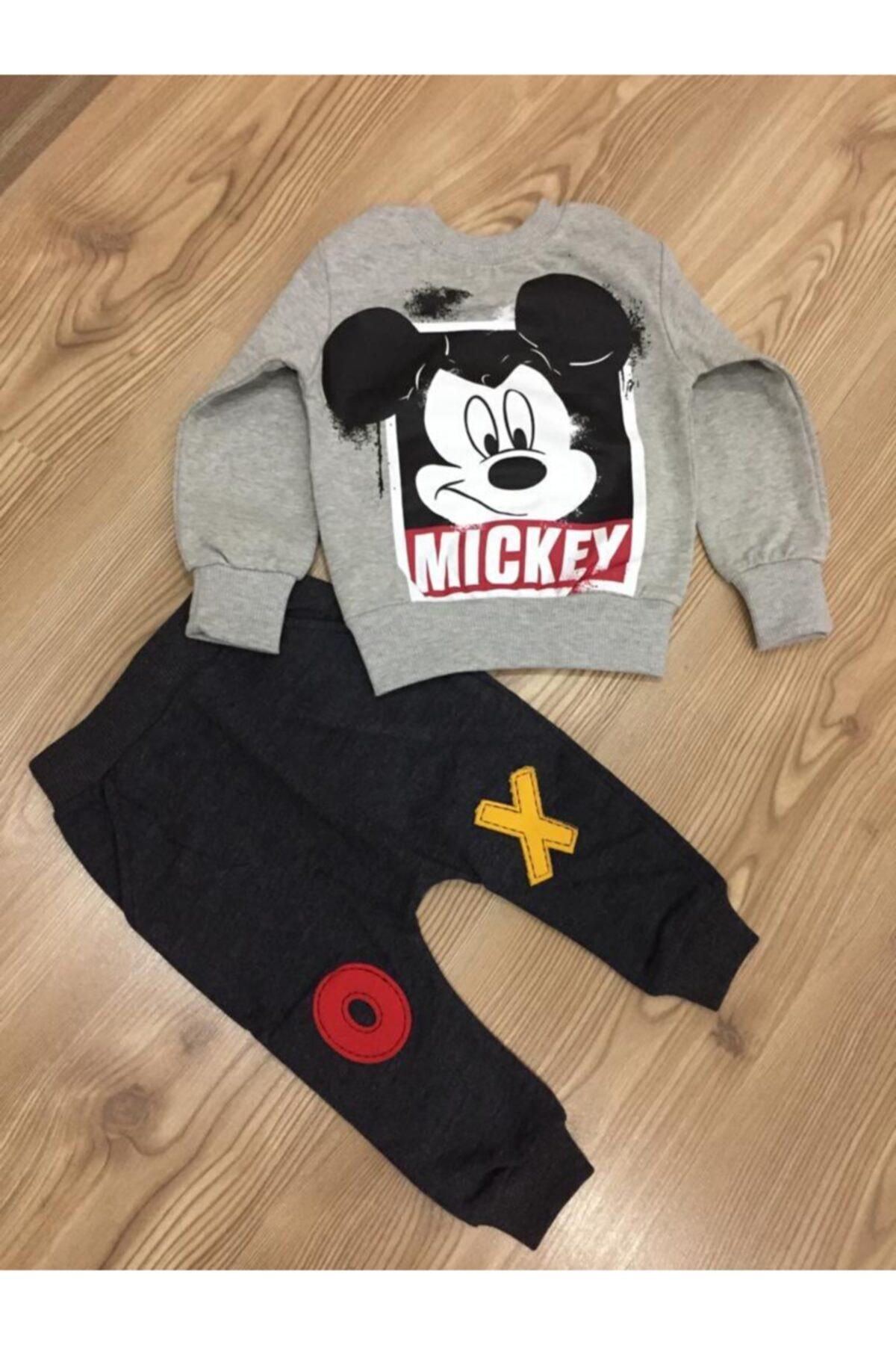 Mickey Mouse Erkek Çocuk Gri Baskılı Eşofman Takımı 1