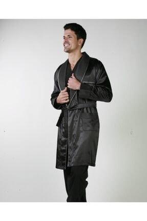 ANCELO Siyah Saten Pijama Takım Ve Robdöşambr 3lü Damat Çeyiz Set