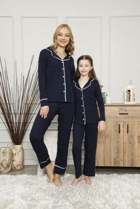 Çekmece Lacivert Düğmeli Biyeli Uzun Kol Pamuklu Pijama Takım (1 Adet)