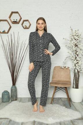 Çekmece Kadın Koyu Gri Düğmeli Uzun Kol Pamuklu Pijama Takım