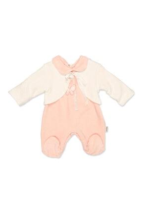 Ciccim Baby 4416 Kız Bebek Pembe Kelebek Desenli Kadife Patikli Tulum