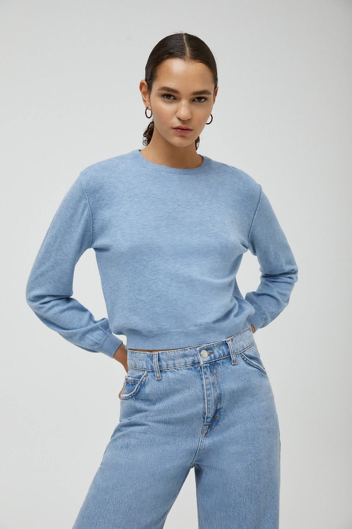 Pull & Bear Kadın Mavi Geniş Kollu Basic Triko Kazak
