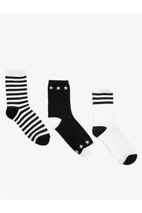 Koton Kadin Çizgili Pamuklu 3'lü Çorap Seti