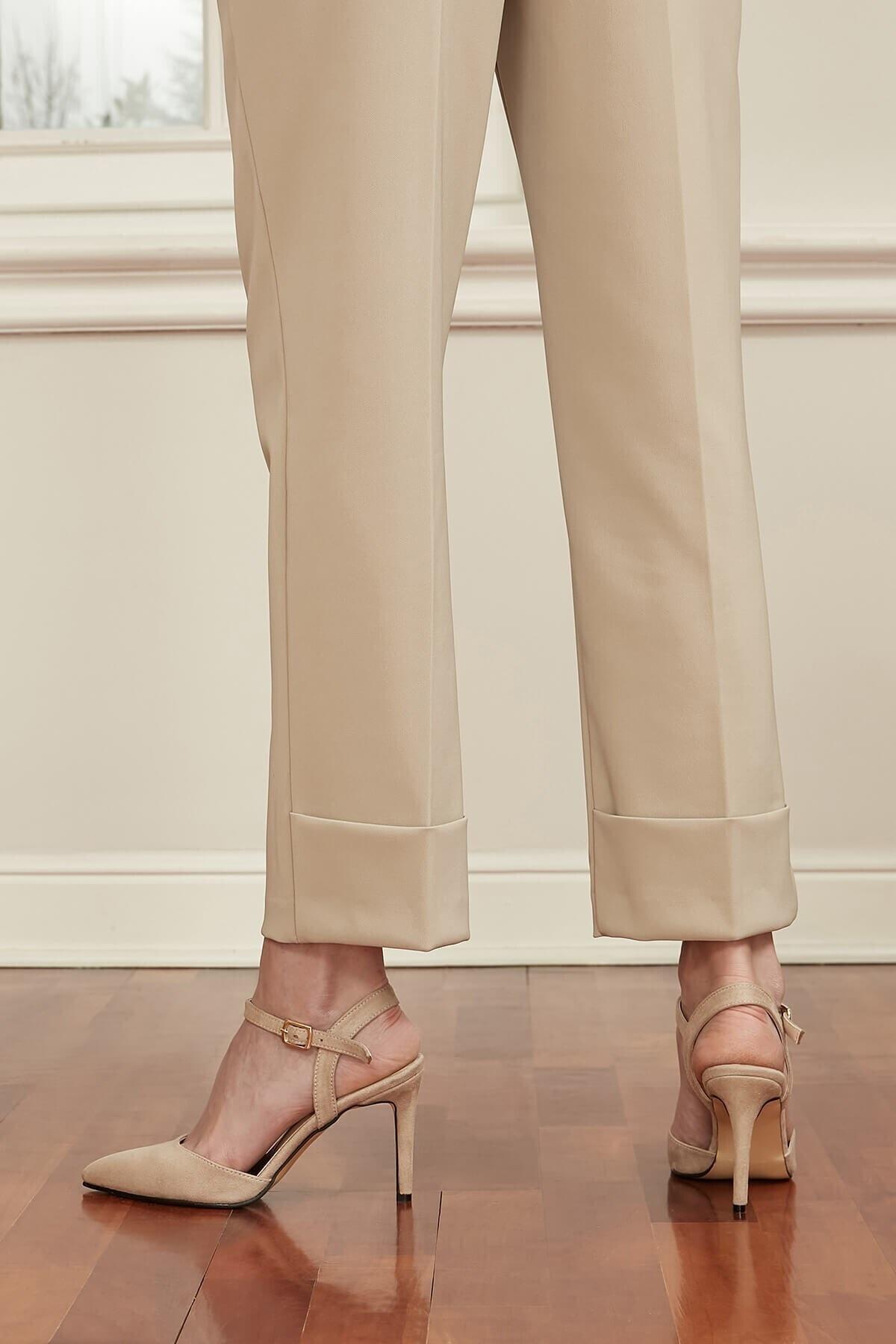 Mio Gusto Lucia Bej Bilek Bantlı Topuklu Ayakkabı 2