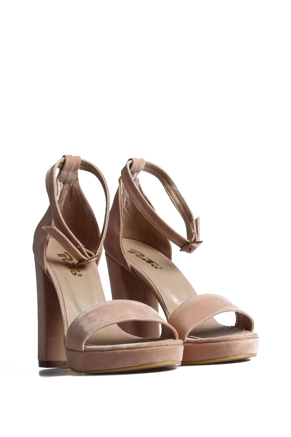 PUNTO Kadın Pudra Süet Günlük Topuklu Ayakkabı 1