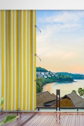 ALTINPAMUK Her Ölçüde Enxboy Seçenekli Bağcıklı Balkon Perdesi Balkon Brandası Sarı Beyaz