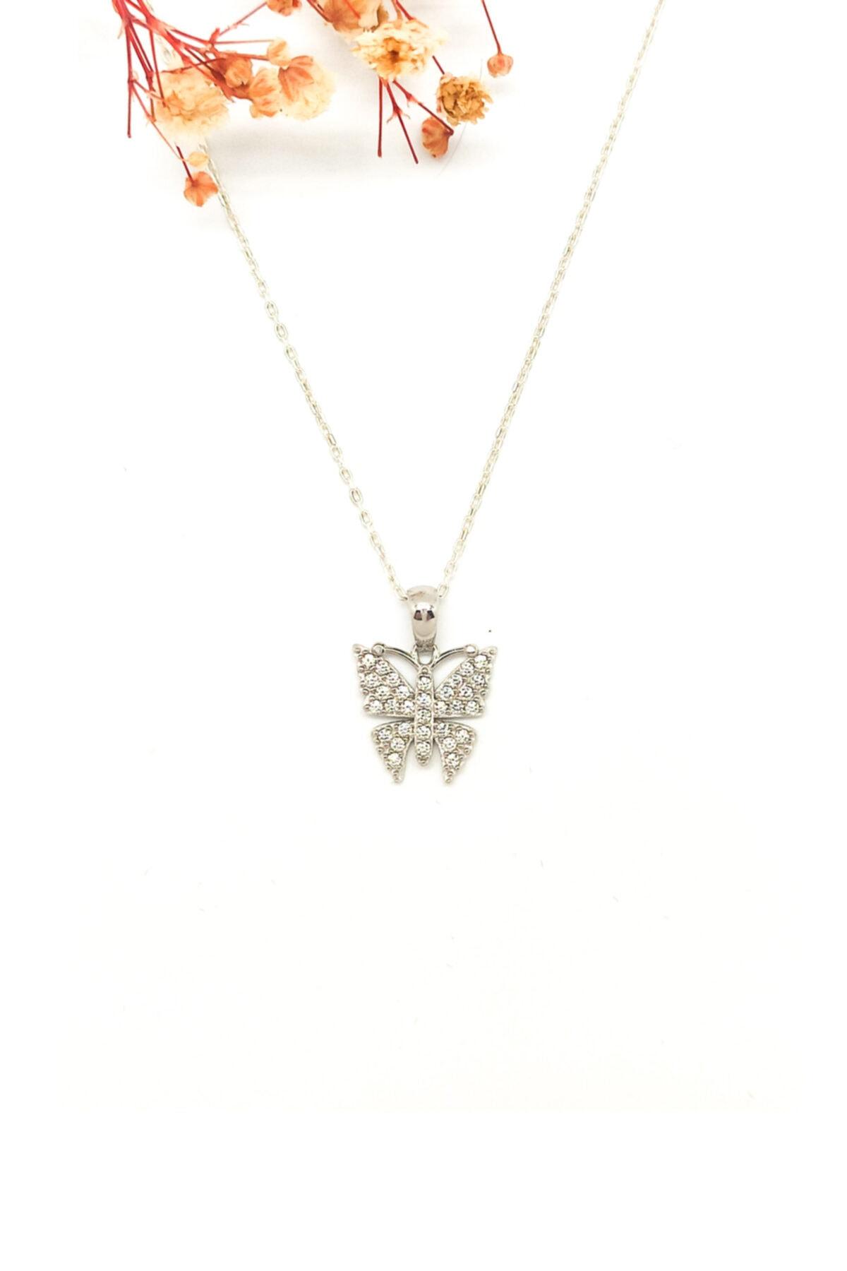 MAGNAMİNA Kadın Kelebek Gümüş Kolye 1