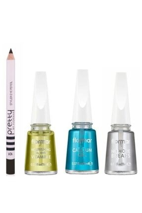 Flormar Göz Kalemi Hediyeli E Vitamini + Kalsiyum Jel + Kırılma Önleyici Tırnak Bakım Seti