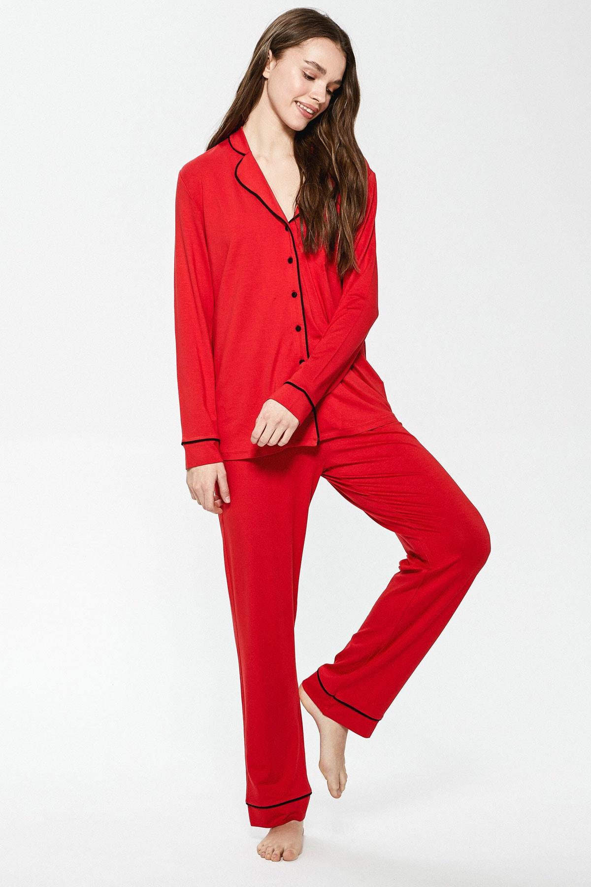 LC Waikiki Kadın Canlı Kırmızı LCW DREAM Pijama Takım 1