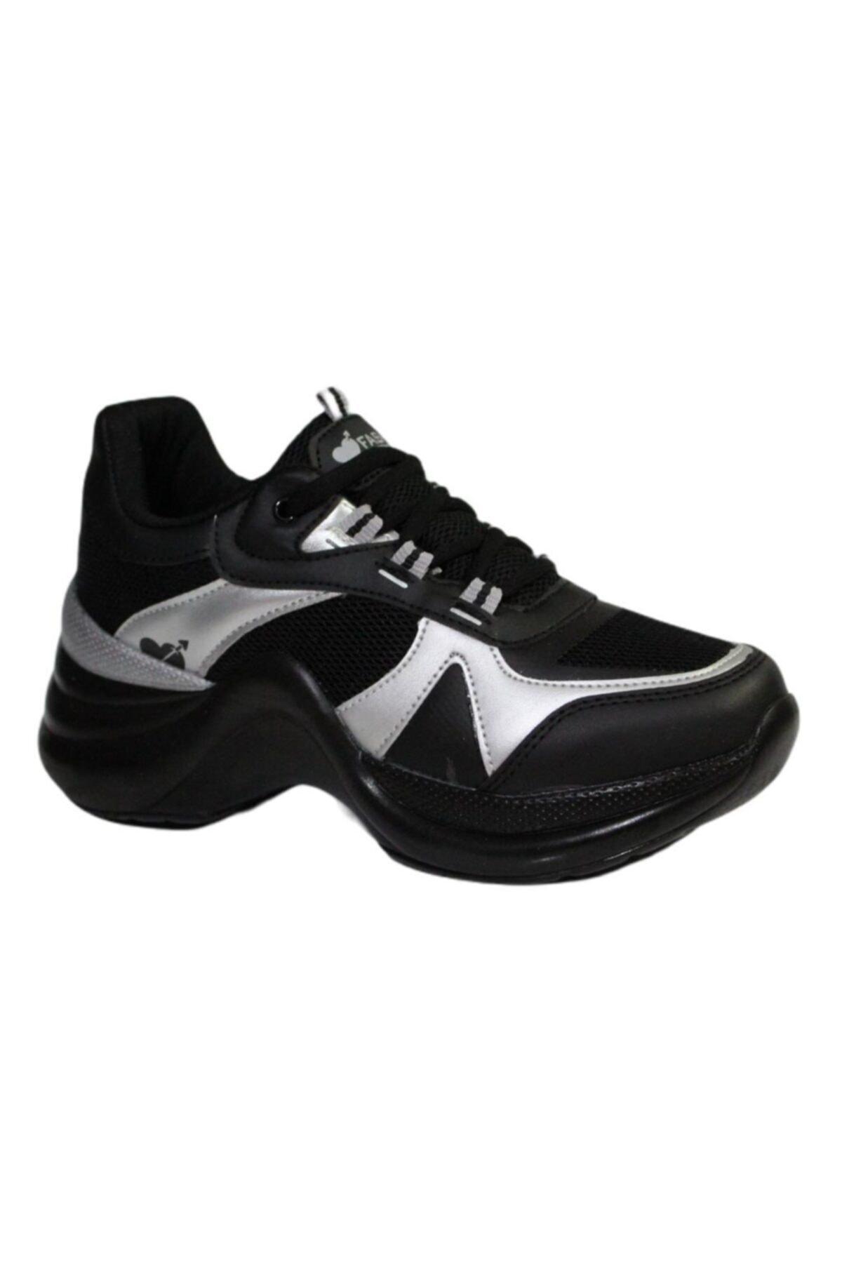 Twingo Kadın Siyah Gri Kalın Taban Yürüyüş Spor Ayakkabı 601 1