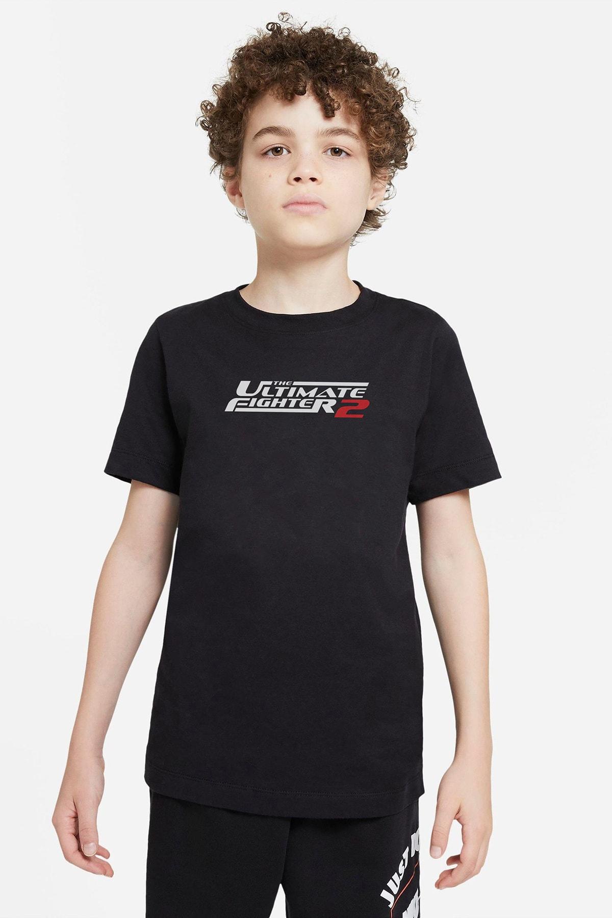 QIVI Unisex Çocuk Siyah Ufc Ultimate Fighting Championship Baskılı T-Shirt 1