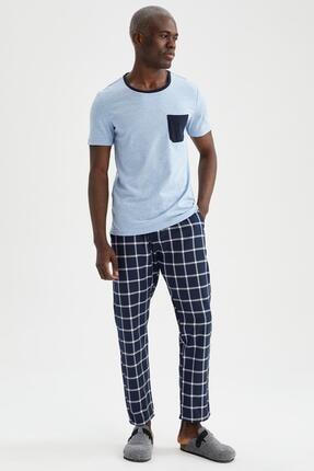 DeFacto Erkek Mavi Slim Fit Pijama Takımı