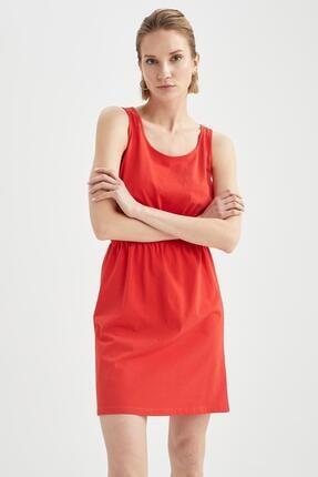 DeFacto Kadın Kırmızı Relax Fit Beli Büzgülü Askılı Basic Elbise