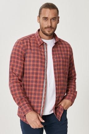 AC&Co / Altınyıldız Classics Erkek Kırmızı-Lacivert Tailored Slim Fit Dar Kesim Düğmeli Yaka Kareli Gömlek