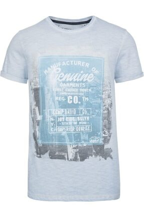 Camp David Erkek Buz Mavisi Baskılı Bisiklet Yaka T-shirt