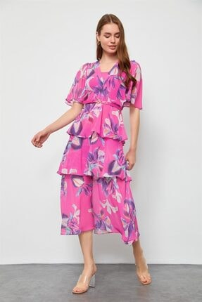 Setre Kadın Orkide Midi Boy Floral Desen Elbise