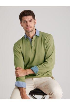 Dufy Yeşil Düz Erkek Sweatshırt - Slım Fıt