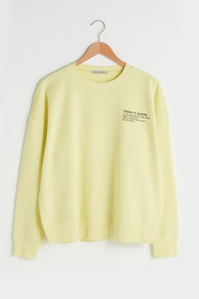LC Waikiki Kadın Limon Sarısı LCW Casual Sweatshirt
