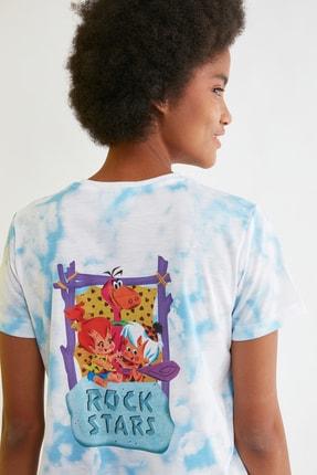 TRENDYOLMİLLA Mavi Flintstones Lisanslı Baskılı Basic Örme T-Shirt TWOSS21TS2156