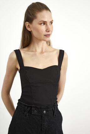 adL Kadın Siyah Kalın Askılı Crop Bluz