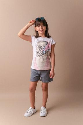Zeyland Beyaz Taşlı Baskılı T-shirt (5-8YAŞ)