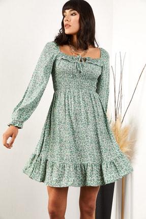 Olalook Kadın Mint Yeşili Gipeli Önü Bağlamalı Dokuma Viskon Elbise