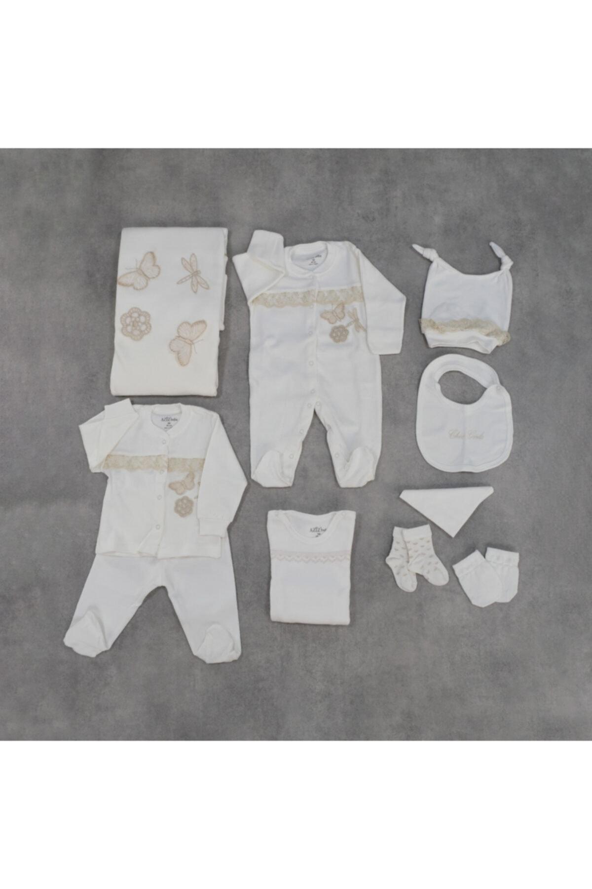 Aziz Bebe Bebek Beyaz Butterfly 10'lu Set Hastane Çıkışı 1