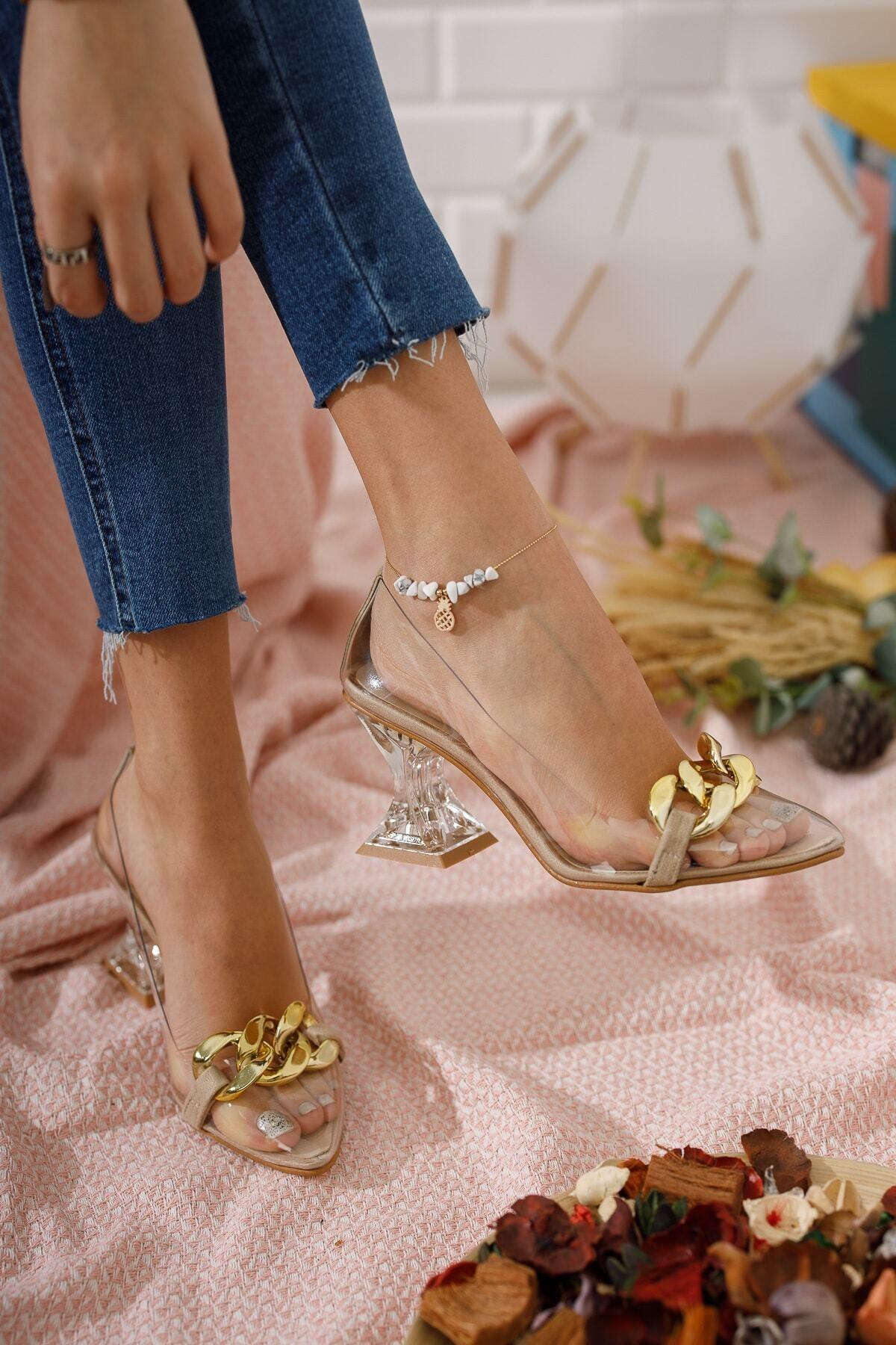 FORS SHOES Kadın Ayakkabı Ten Süet Tokalı Şeffaf Topuklu Ayakkabı 1