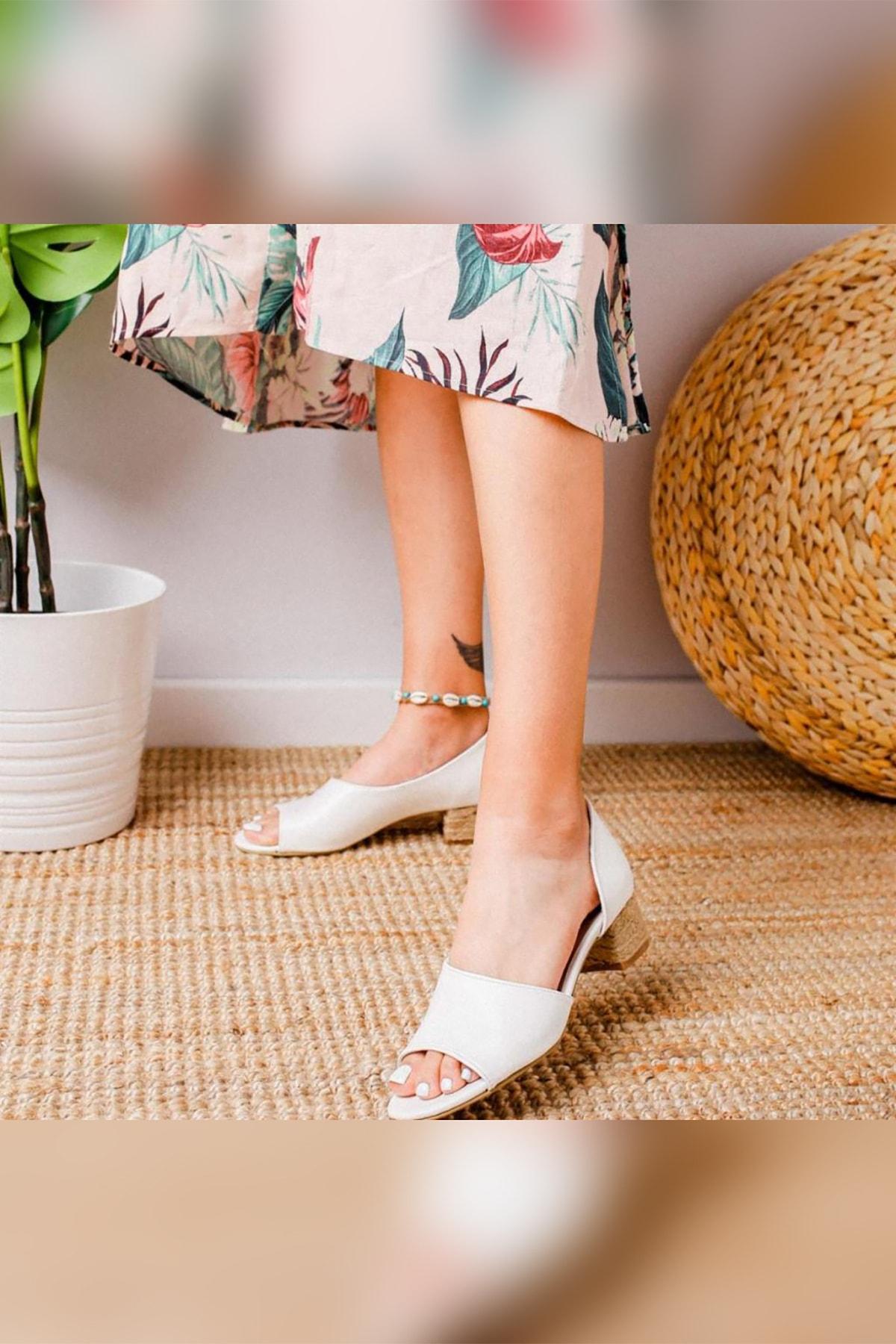 Limoya Kacie Beyaz Alçak Hasır Topuklu Sandalet 1