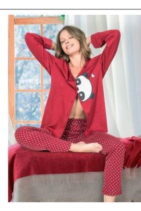 NBB Kadın Kırmızı Pandalı Önden Düğmeli Pijama Takım