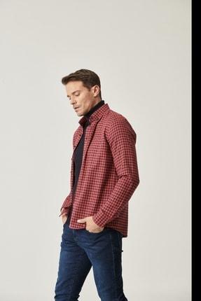 ALTINYILDIZ CLASSICS Erkek Kırmızı-Lacivert Tailored Slim Fit Dar Kesim Düğmeli Yaka Kareli Gömlek
