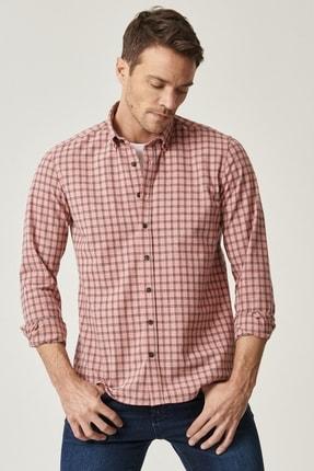 ALTINYILDIZ CLASSICS Erkek Nar Çiçeği Tailored Slim Fit Dar Kesim Düğmeli Yaka Kareli Gömlek