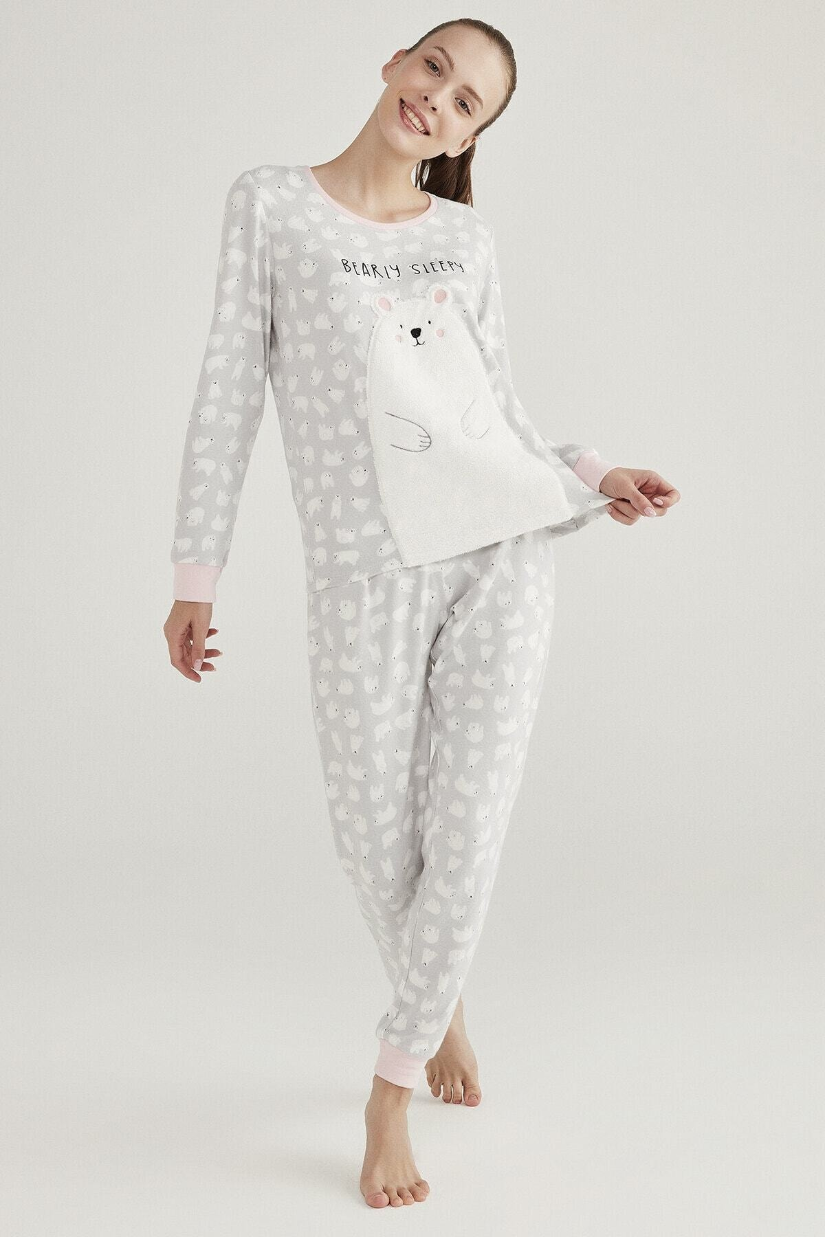 Penti Gri Polar Bear Termal Pijama Takımı 2