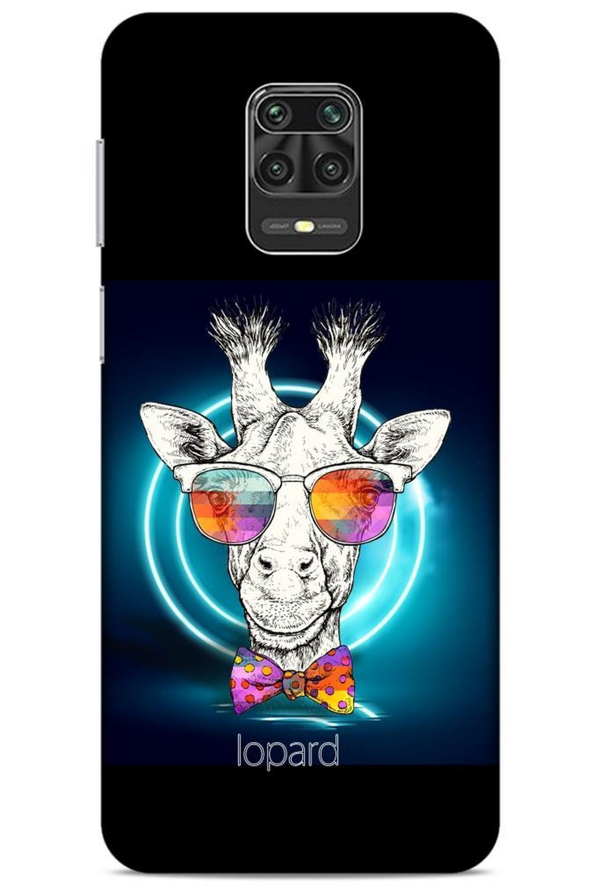 Lopard Xiaomi Redmi Note 9 Pro Kılıf Funnymax (6) Silikon Kılıf Siyah Zürafa 1