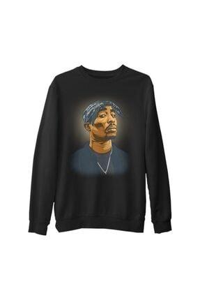 Lord T-Shirt Erkek Siyah Tupac Shakur - Necklace Kalın Sweatshirt