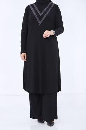 kombinal Kadın Siyah Sim Detaylı Büyük Beden İkili Tunik Takım 361