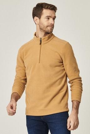 AC&Co / Altınyıldız Classics Erkek KARAMEL Standart Fit Günlük Rahat Fermuarlı Bato Yaka Spor Polar Sweatshirt
